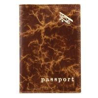 Обложка на паспорт кожа  А-ОП пулл-ап рыжий